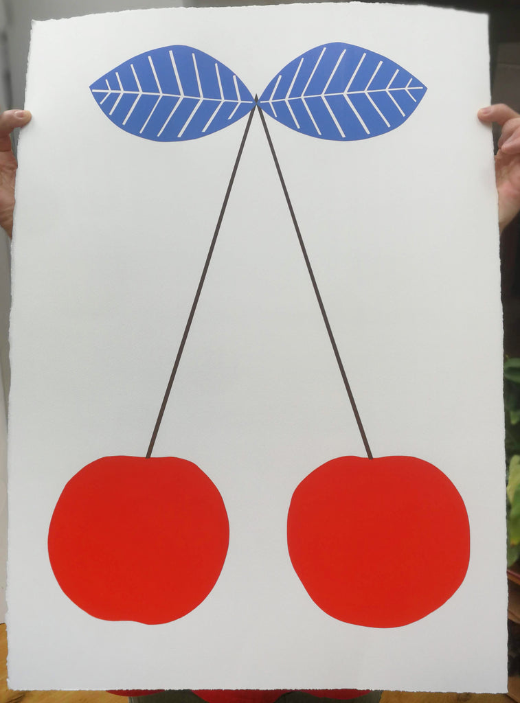Big Red Cherries Screen Print  - 50x70cm
