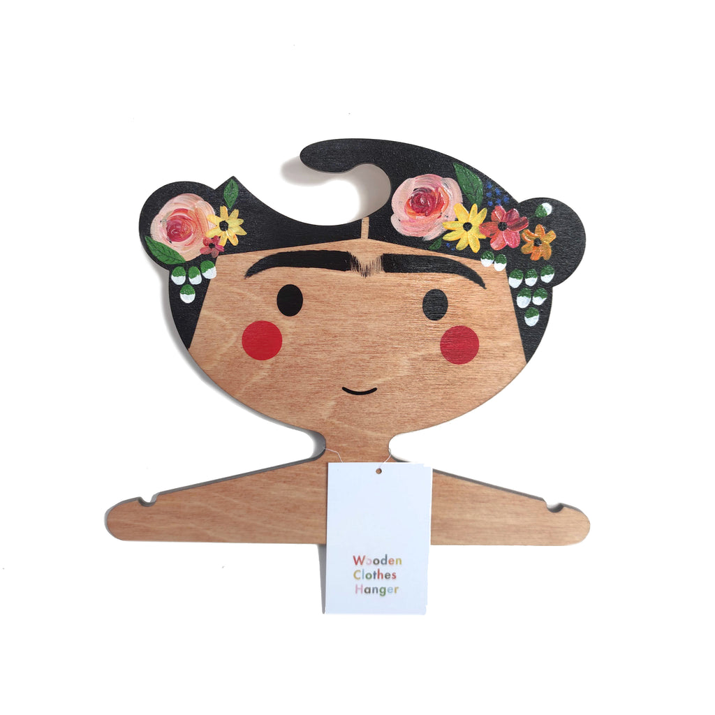 The gorgeous Frida Wooden  Clothes Hanger with hand painted floral headband
