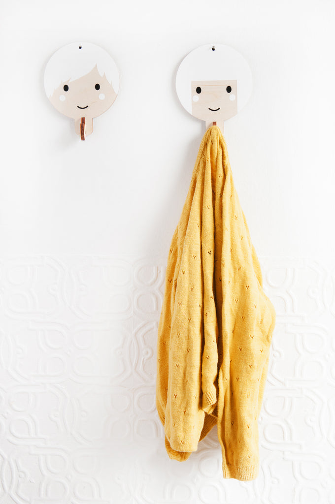 Children's Wooden Door Hooks - Girl's Face Design