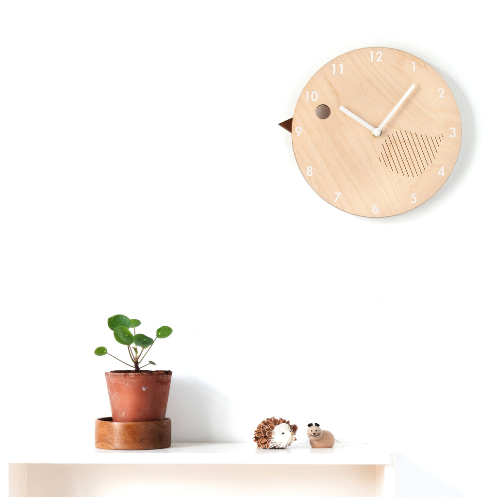 Wooden Children's Bird Clock - Birdie