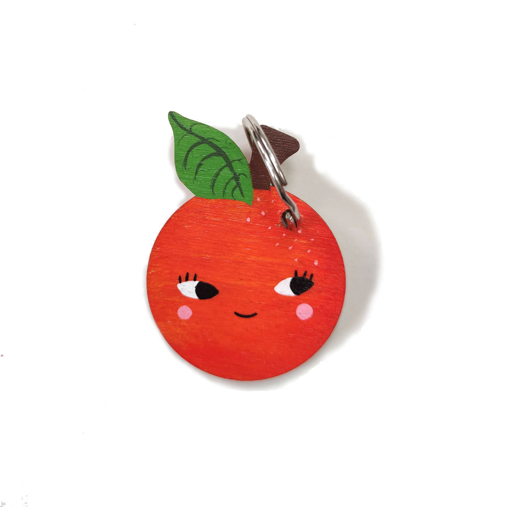 Wooden Hand Painted Orange Keyring