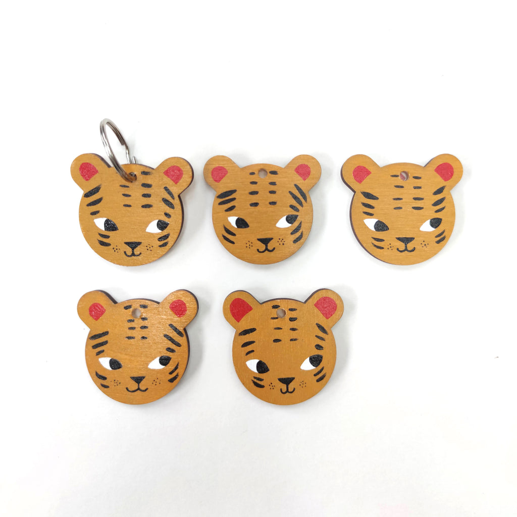 Wooden Hand Painted Tiger Keyring