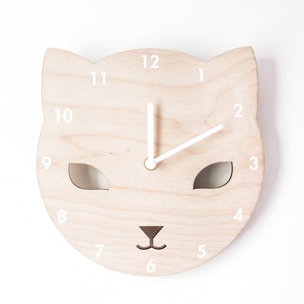 Wooden Childrens' Clock - Cat