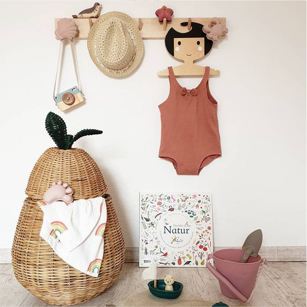 Childrens' Wooden Clothes Hanger - Girl's Face design - Black Hair