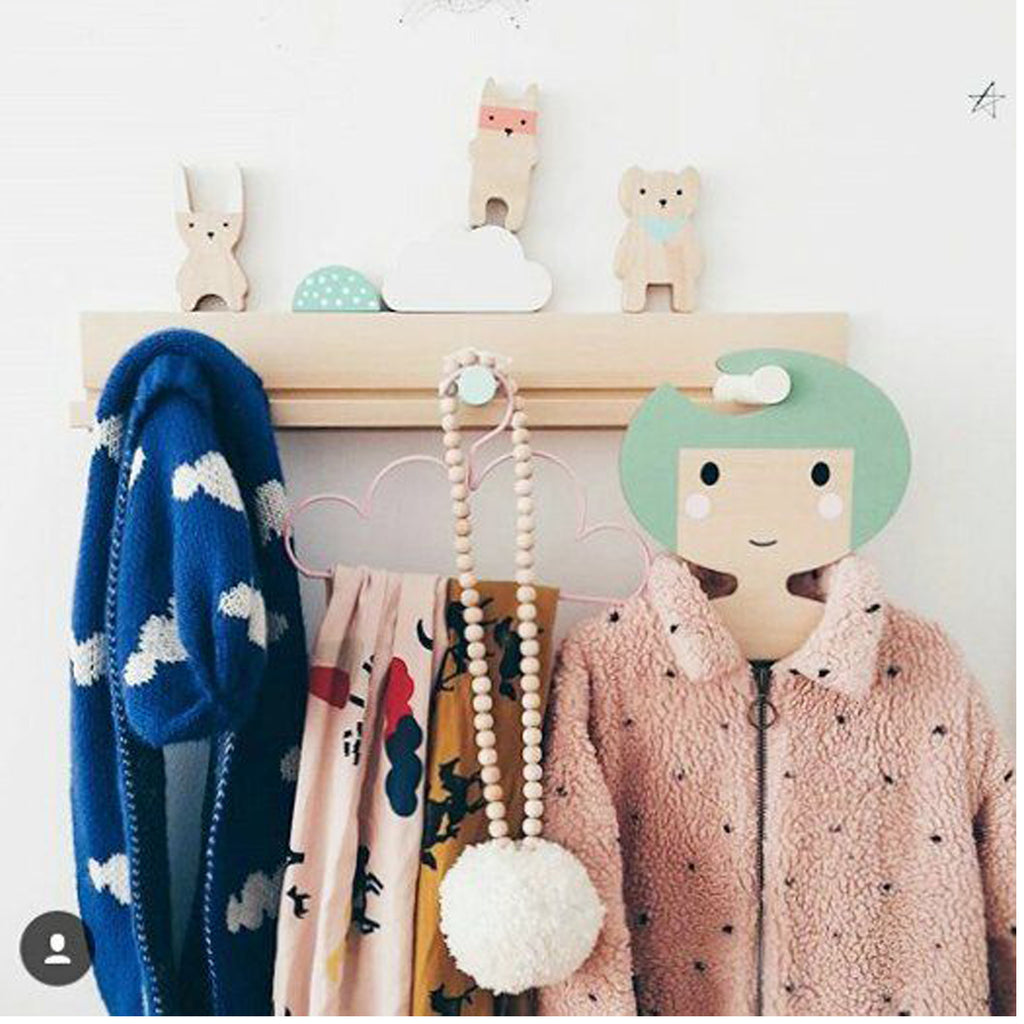 Childrens' Wooden Clothes Hanger - Girl's Face design - GreenHair