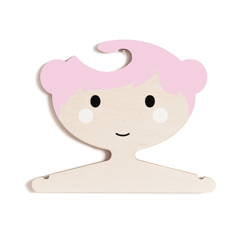Red Hand gang childrens wooden girls face clothes hanger pink