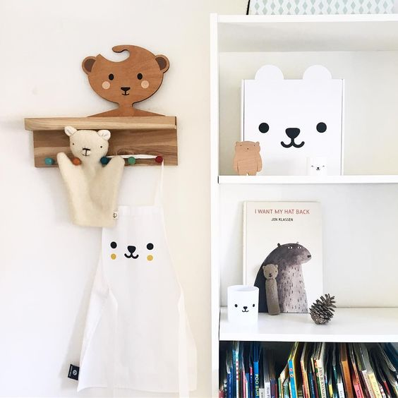 Brown Bear Wooden Clothes Hanger