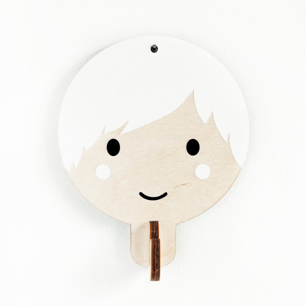 Children's Wooden Door Hooks - Boy Face Design - White Hair