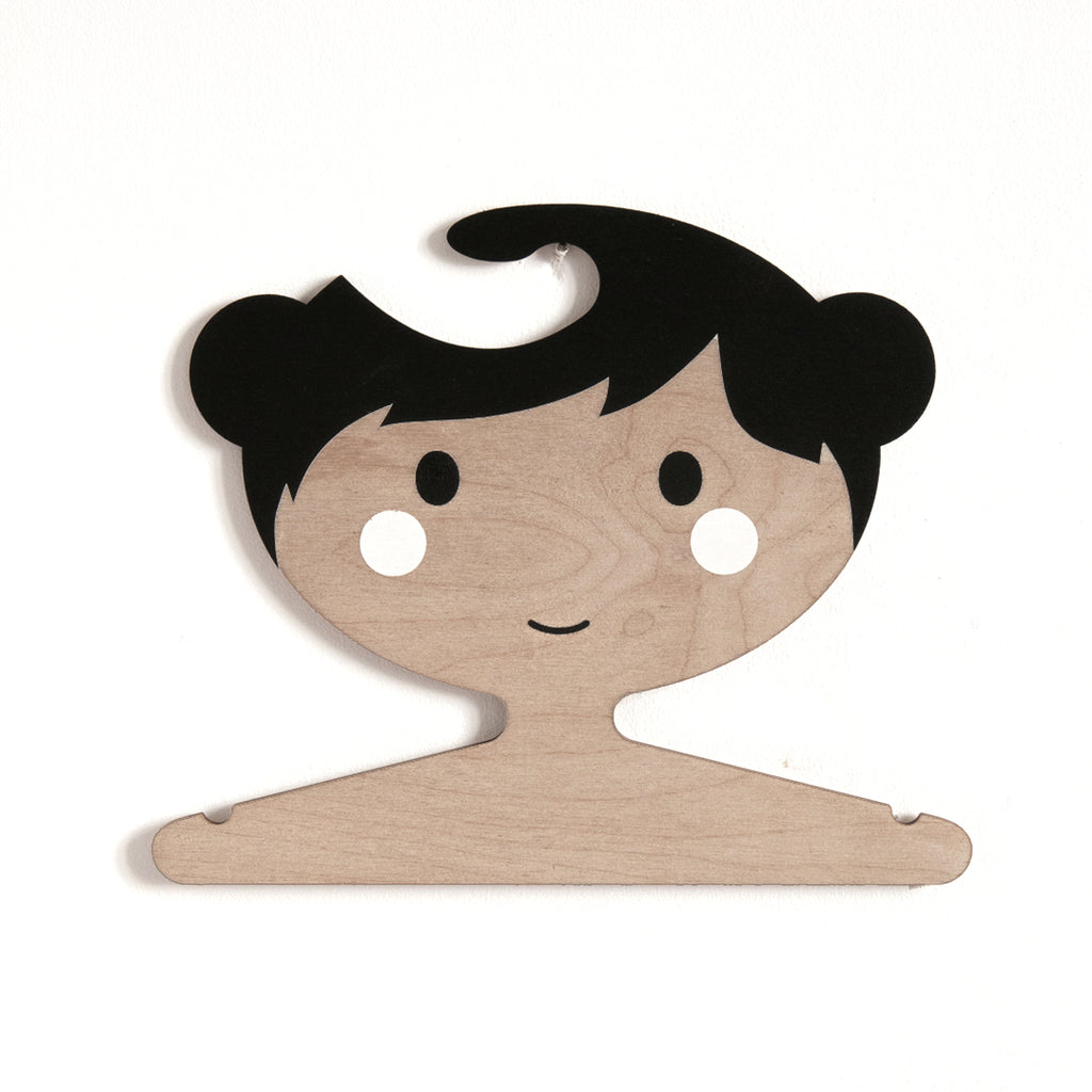 Wooden Clothes Hanger - Little Girls Face with Black Hair, Darker Skin Tone and Buns