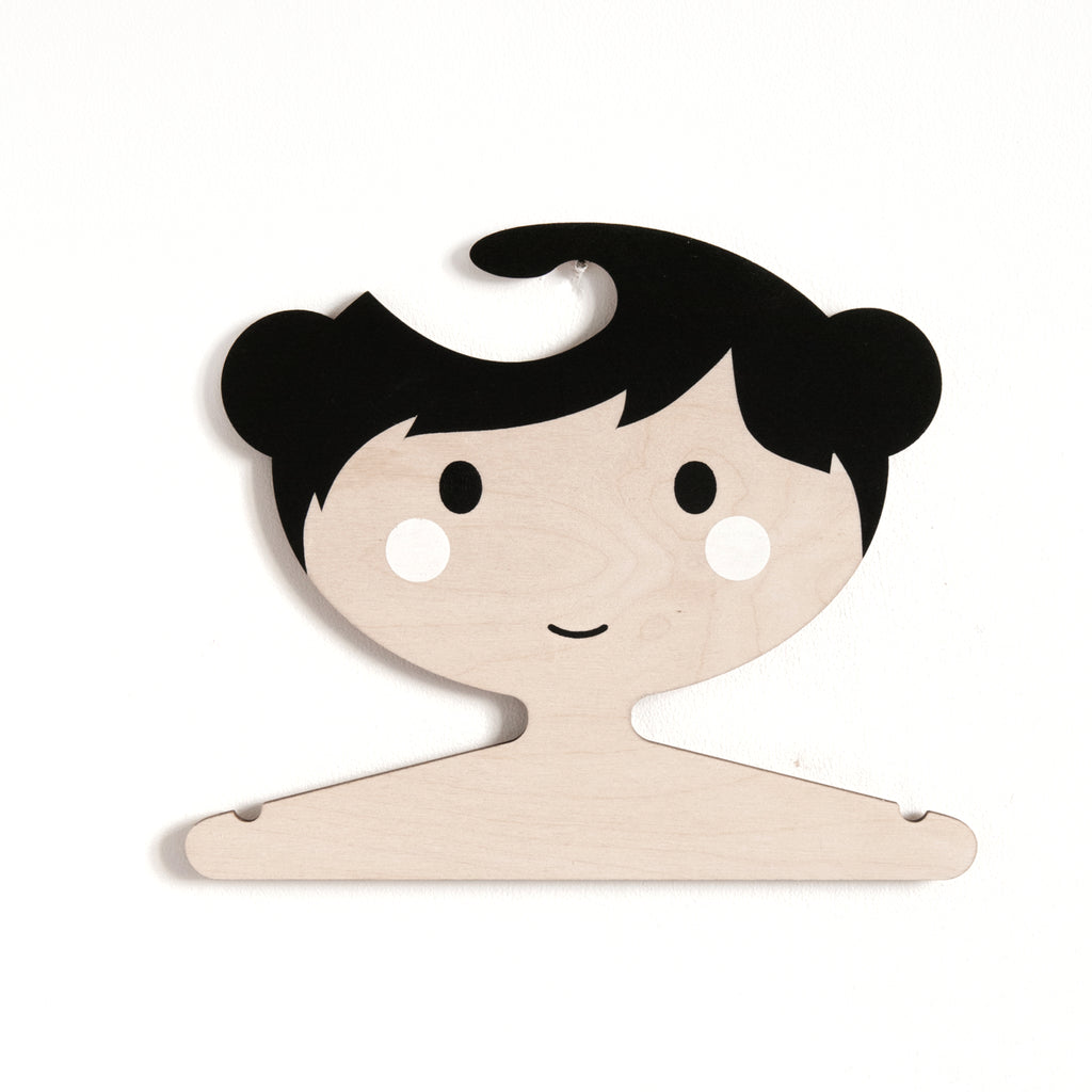 Wooden Clothes Hanger - Little Girls Face with Balck Hair and Buns