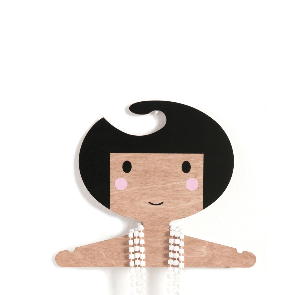 wooden clothes hanger for kids room - girl's face design - darker skin tone