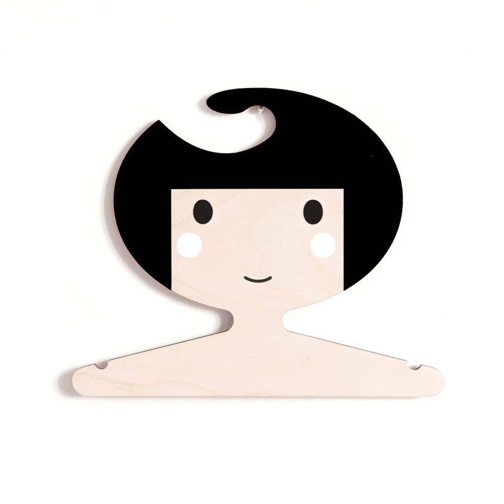 wooden clothes hanger for kids room - girl's face design
