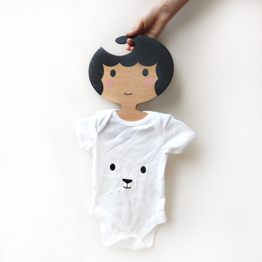 Childrens' Wooden Clothes Hanger - Girls' Face design - Black scalloped Hair