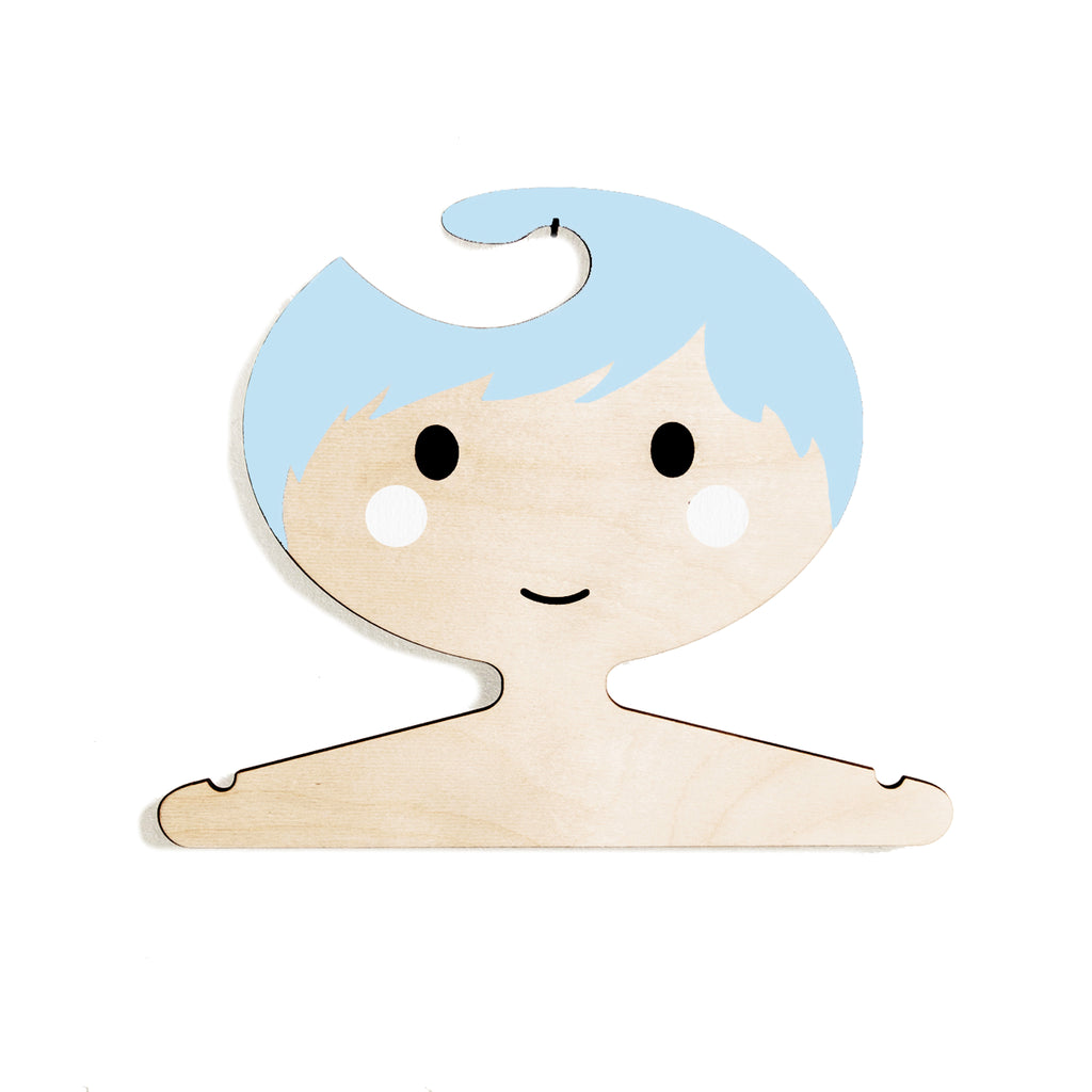 Wooden Clothes Hanger - Children's Face Design with Short Blue Hair