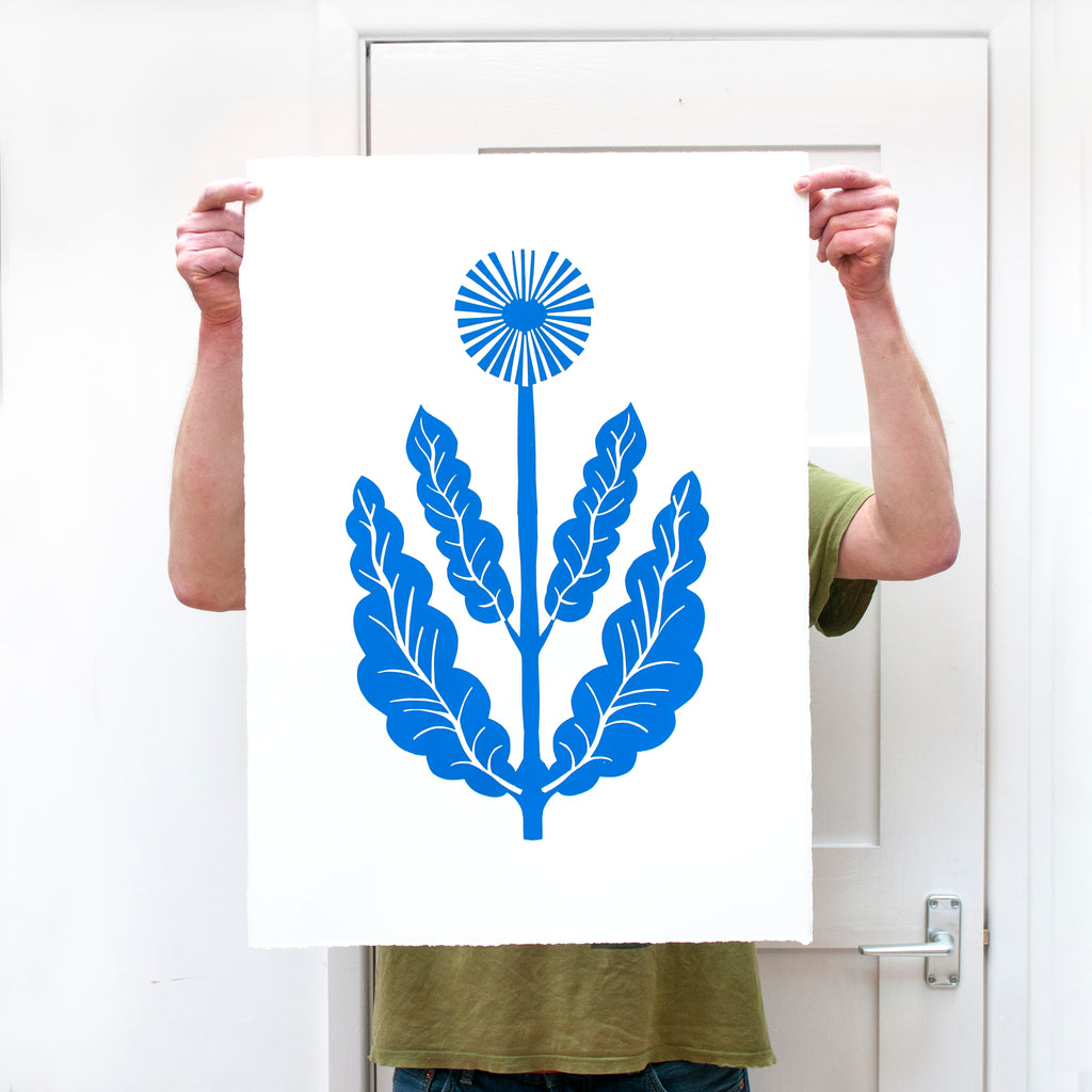 Big Blue Flower screen print