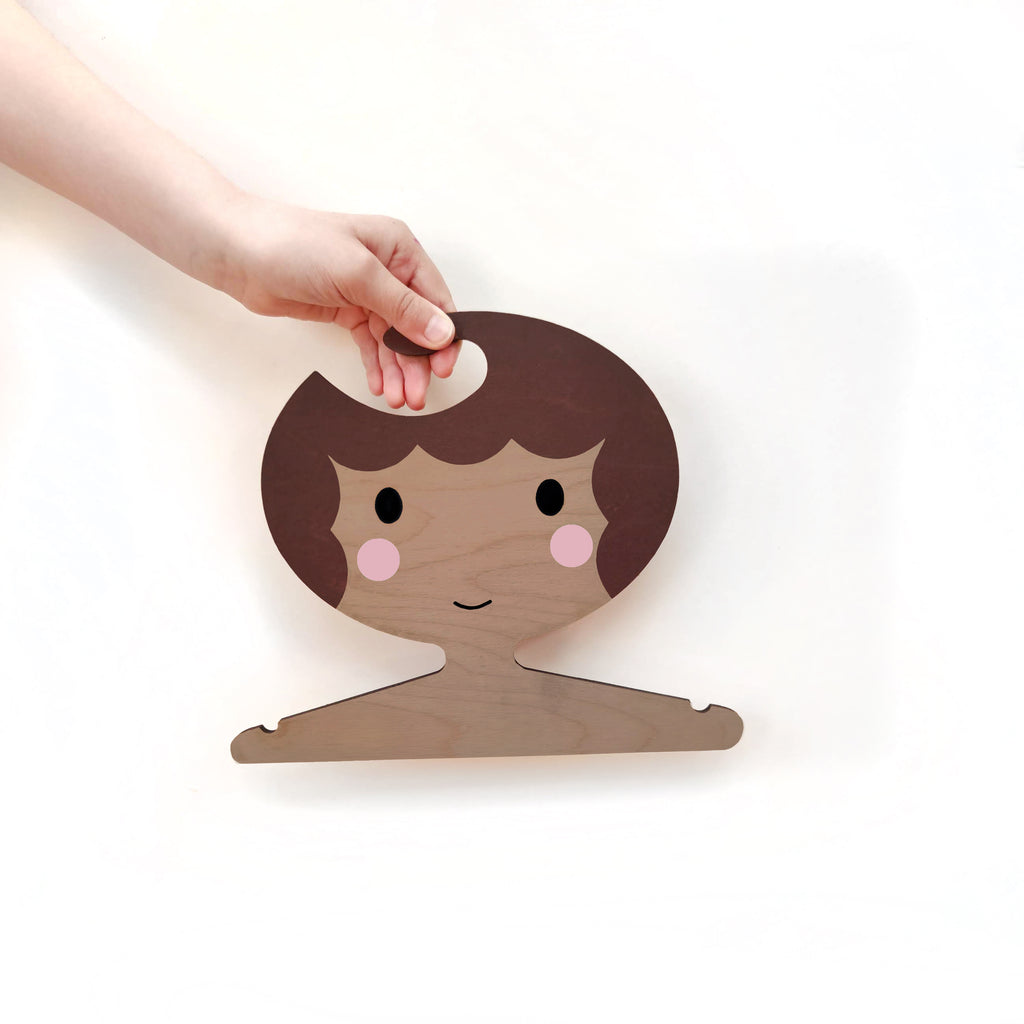 Childrens' Wooden Clothes Hanger - Girls' Face with brown scalloped Hair
