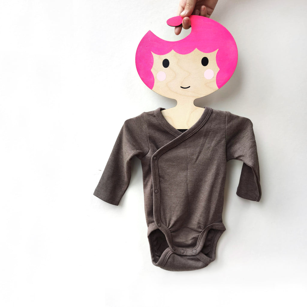 Childrens' Wooden Clothes Hanger - Girls' Face with Bright pink scalloped Hair