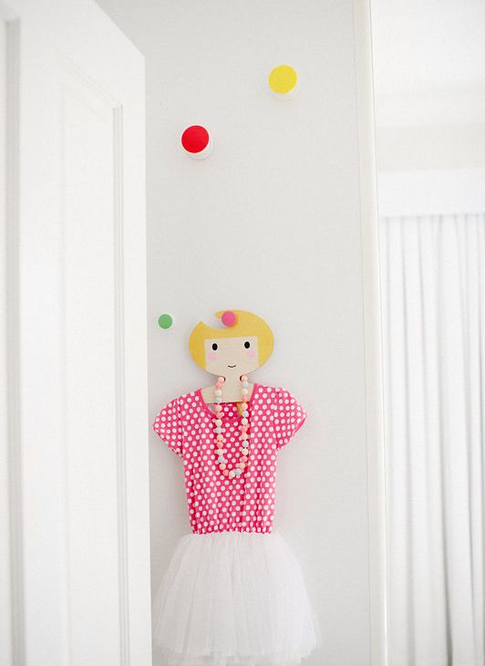 Childrens' Wooden Clothes Hanger - Girl's Face design - Gold