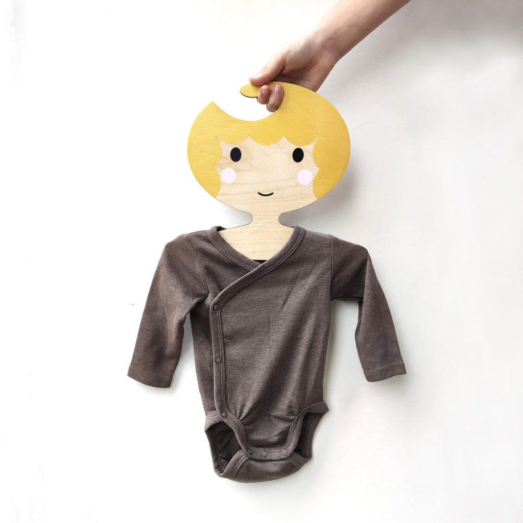 Childrens' Wooden Clothes Hanger - Girls' Face with golden scalloped Hair