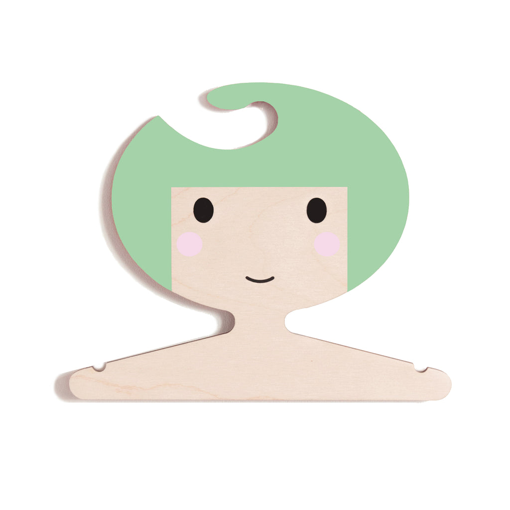 Girl's face design - wooden clothes hanger for kids room - minty green hair