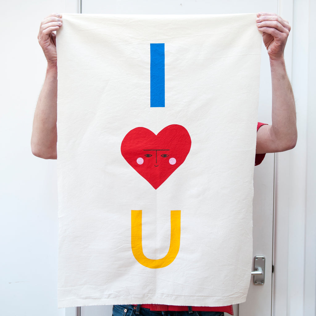 'I Love You' Screen Print on Cotton