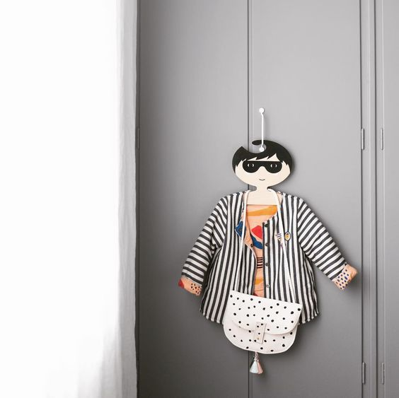 Super Hero Clothes Hanger - Black Short Hair