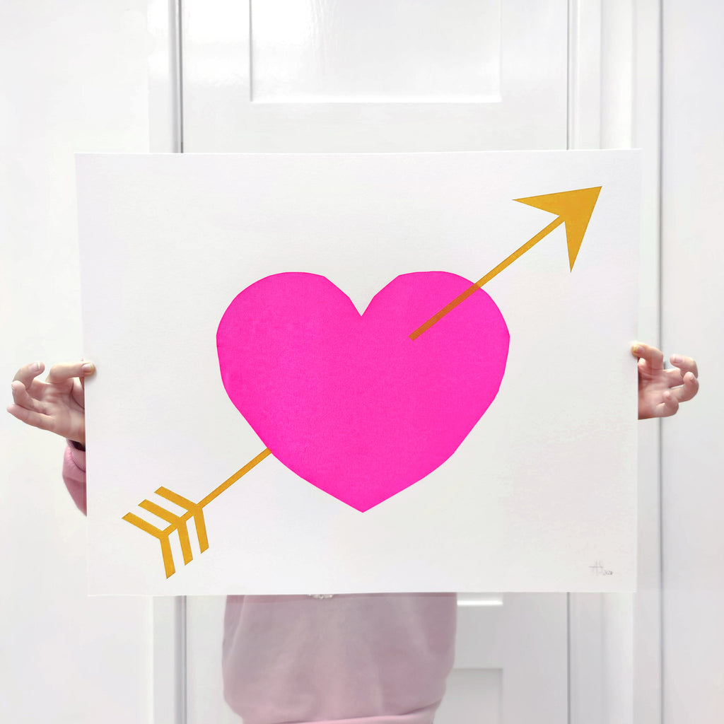 Bright Pink Heart and Arrow screen-print - 40 x 50cm