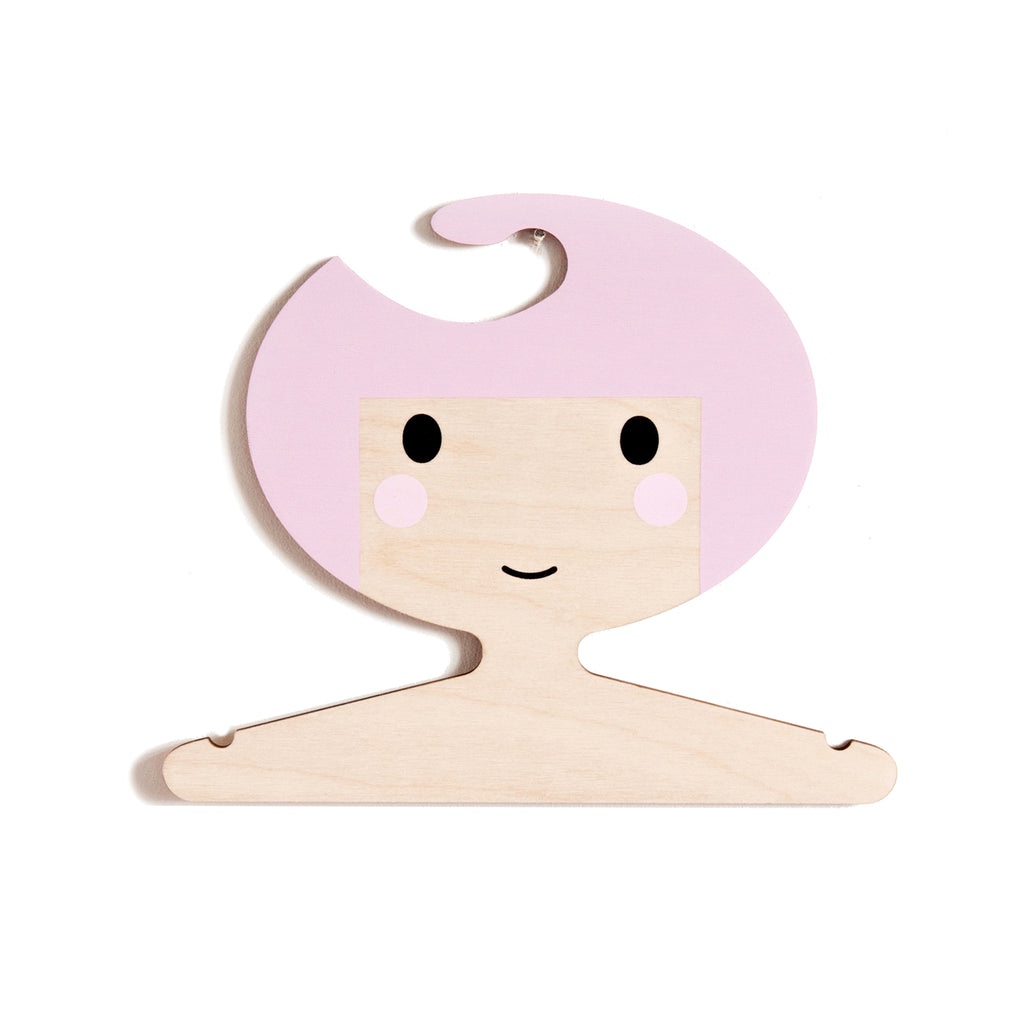 Children's wooden clothes hanger  - pink hair and girls face