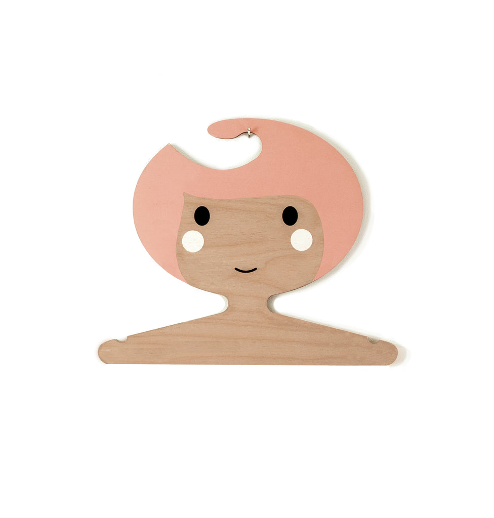 Childrens' Wooden Clothes Hanger - Girl's Face design - Coral - wavy hair and darker skin tone