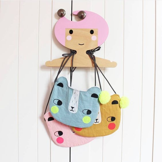 Childrens' Wooden Clothes Hanger - Girl's Face design - Pink