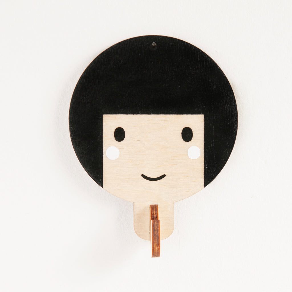 Children's Wooden Door Hooks - Girl's Face with Black Hair