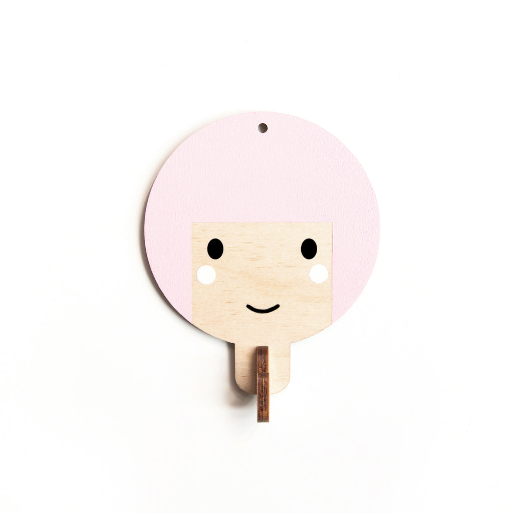 Children's Wooden Door Hooks - Girl's Face with Pink Hair