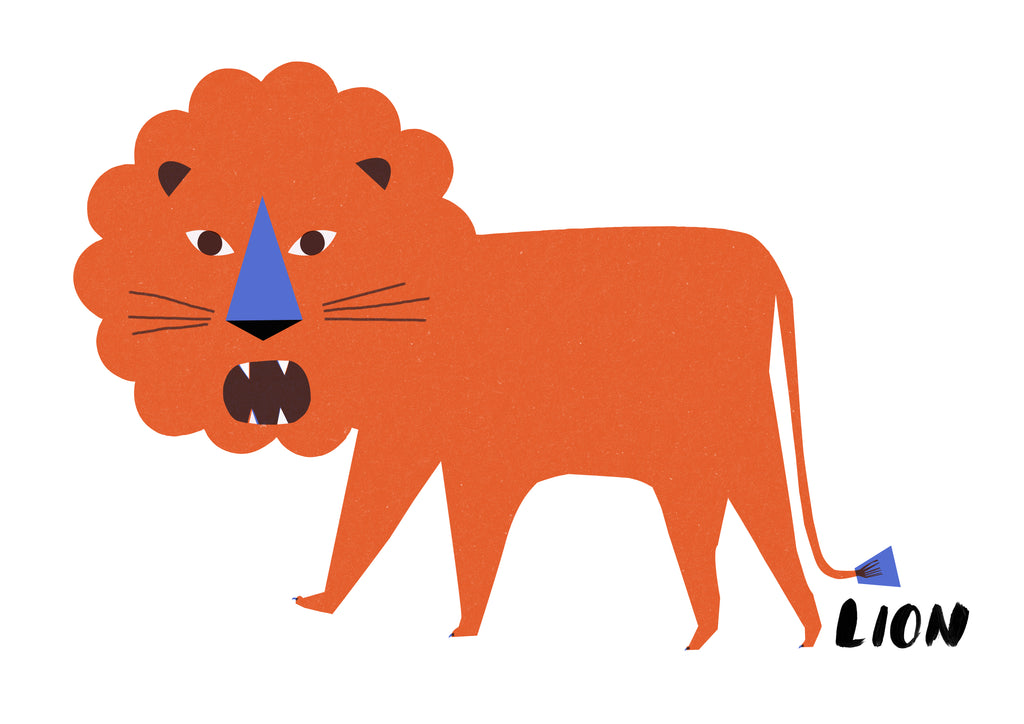 Paper Cut Lion Print for Kids' rooms