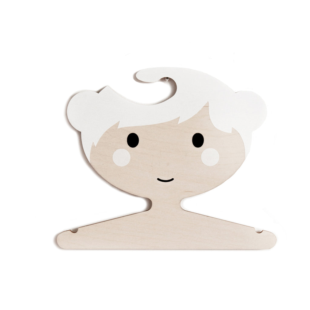 Wooden Clothes Hanger - Little Girls Face with White Hair and Buns