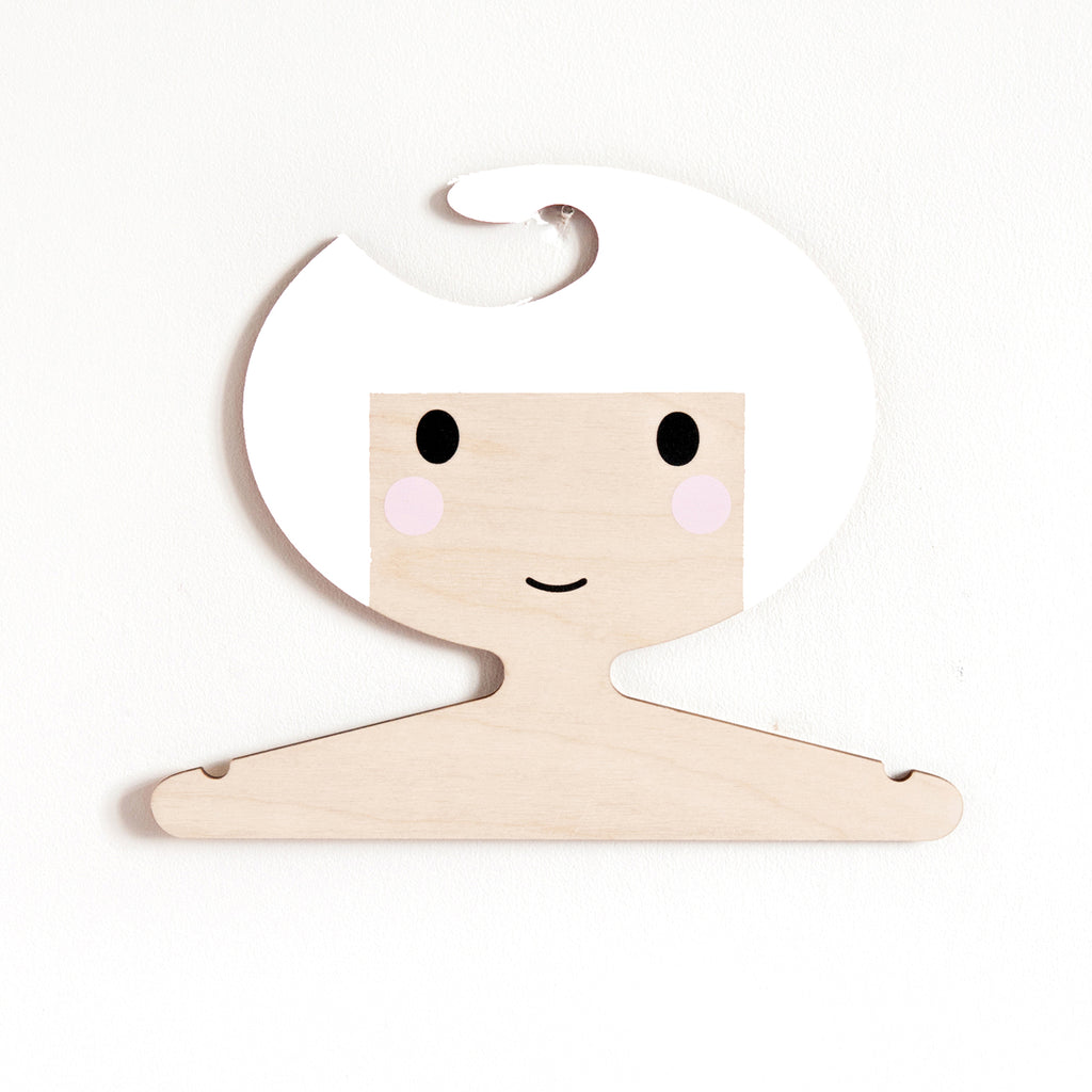 Childrens' Wooden Clothes Hanger - Girl's Face design - White Hair