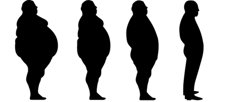 hw to lose belly fat with hypnosis. black silhouettes of a man going from very fat to slightly fat to fat to lean and fit.