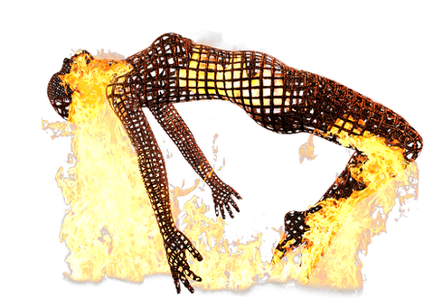 fibromyalgia pain. image of body made of wires with fire all over idicating areas of pain on the body.