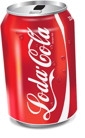soda can has 140 calories. can of soda red and white colour
