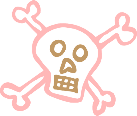 water removes and flsuhes toxins from our systems. pink skull and crossbones indicating toxic.
