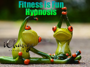 fitness is fun hypnosis. twi frog statues exercising.