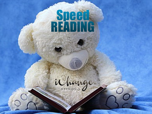 speed reading. increase readng speed. teddy bear reading a book so cute and adorable. words speed reading in blue and background is also blue. teddy ebar is white and book is brown.