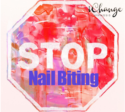 stop nail biting.watercolour painting of a stop sign with nail biting words on top