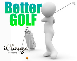 play better golf. man swinging a glf club with golf bag in background and tee and golfball in foregraound. the words are printed better golf in green and blue writing