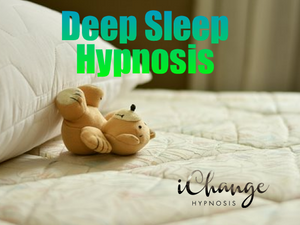 deep sleep hypnosis. a fluffy bed and fluffy pillow and a teddy bear is sleeping comfortably in bed.