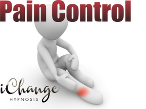 pain control. man in pain holding leg with words pain control