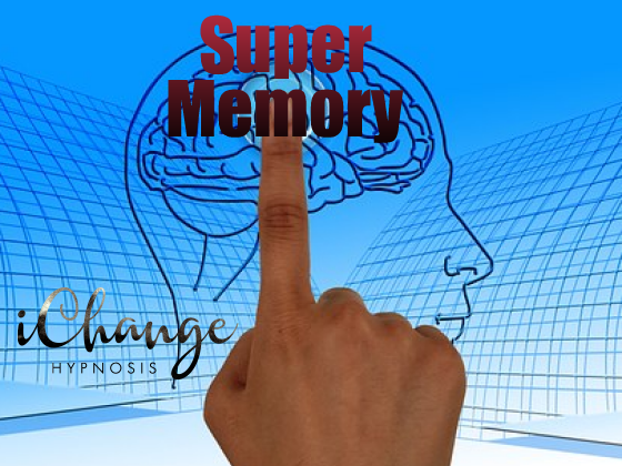 super memory hypnosis. mermory superimposed over a human brain