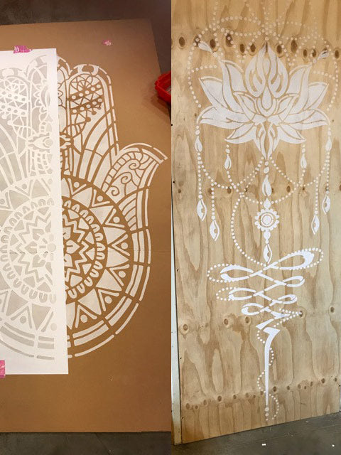 Two new large mandala wall stencils!