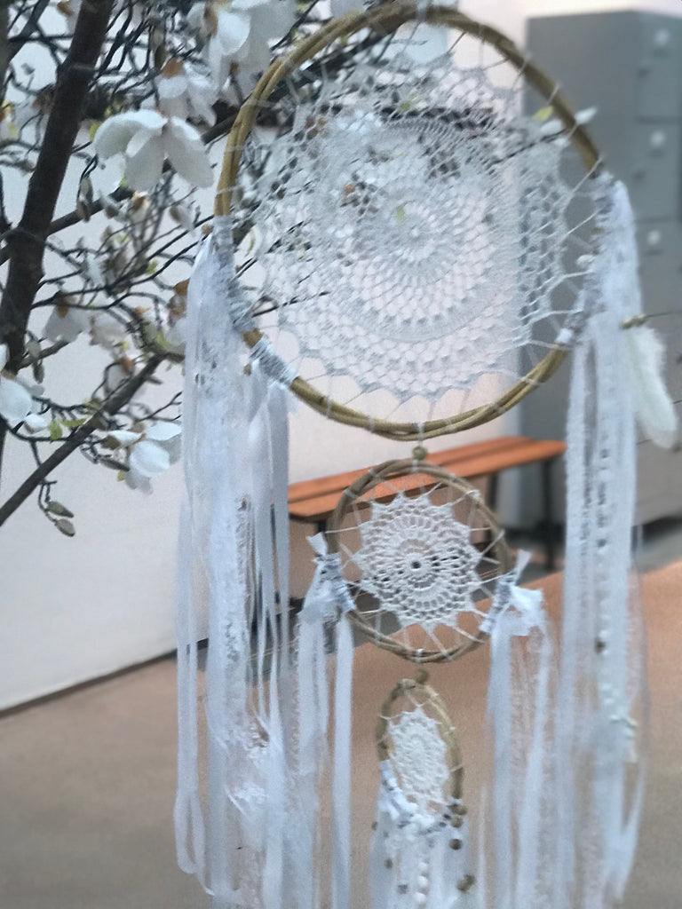 Dream catcher big trio white handmade with ribbons and laces and pompoms 42 cm