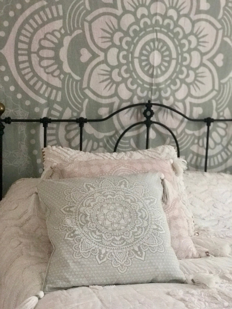 Mint green HOLY mandala pillow case/cushion 50x50cm, 19,5""
