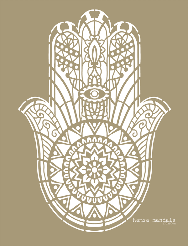 Big Hamsa Mandala stencil Made in Amsterdam 130x90cm, 51x30""